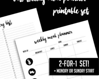 B/W Weekly Meal Planner Printable - 2-for-1! - Letter Size