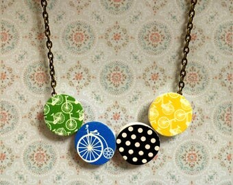 Vintage bicycle Necklace, Retro Bike, Vintage Tiles decor, Hoop Charm necklace, Colorful, pastel, Semicircle Bar Necklace, Curved bar