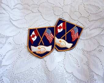 Collectible Emblem, Canada USA Flags Emblem, Canada USA Handshake