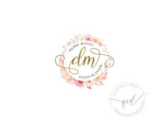 Premade watercolor roses logo, Round calligraphy logo, Gold Lettering Logo, Stylish Logo for Event Planner, Romantic watermark