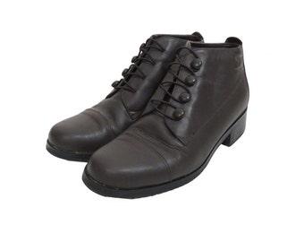 Vintage 90s Dark Brown Neo Victorian Steampunk Elastic Strap Ankle Boots Size 9