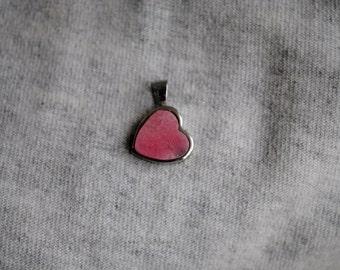 Rhodonite Stone Heart Pendant, Healing Stone