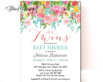 Spring Floral Twins Baby Shower Invitation Twin Girls Baby Shower Invite Watercolor Floral Printable OR Printed No.1483BABY (V2)