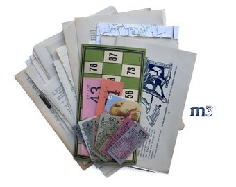 Vintage paper ephemera pack. Text pages and colour pieces of ephemera Collage Art Pack with 40 pieces.