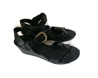 SALE Vintage Black Strappy Sandals 90s Cole Haan Sandals Buckle Wedge Heel Shoes Leather Sandals HIPSTER BOHO womens size 7