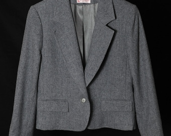Pendleton Jacket - Petite Vintage Womens Work Jacket - Grey Woollen Suit Blazer - Soft Fine Wool
