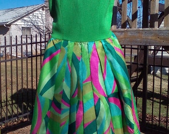 Vintage Green and Pink Funky Fun Dress