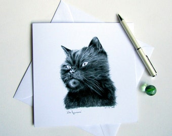 Blank greeting card - Lola Peppercorn - exotic black cat pencil drawing original exclusive artwork printed on white card made by artist