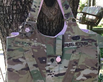Tote, Bag, Messenger bag, laptop bag, computer bag, Purse, Diaper Bag, handbag, repurposed upcycled military uniform
