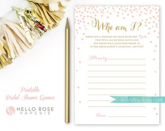 Who Am I? Bridal Shower Game . Guess who said it . Printable Pink and Gold Bridal Shower Game . Printable Instant Download . Gold Glitter