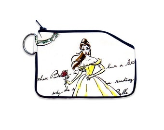 Disney Princess Belle Beauty and the Beast Zipper Wallet Coin Pouch Purse Accessory Disney Minimalist Card Holder Child's Coin Purse Small