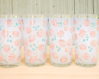 Classic pink and blue, mid-century glass tumbler set