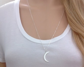 Sterling silver moon necklace; Large crescent moon necklace; silver moon pendant; silver moon necklace; long moon necklace