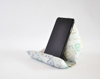 Fabric Phone Stand, Phone Holder, Phone Pillow, iPhone Stand, iPhone Holder, Mobile Phone Stand - Light Blue Aztec