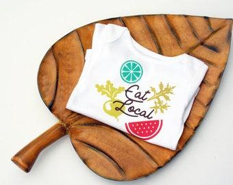 Organic Baby Onesie, Eat local, Modern Baby Clothes, Vegetarian Baby Onesie