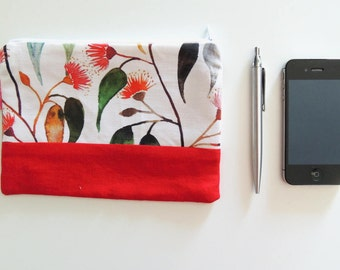 Watercolor Red Floral Zipper Pouch - Travel wallet, Pencil case, Purse organizer, Makeup pouch or Mini Clutch