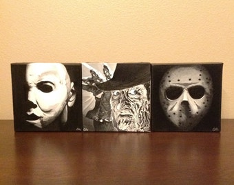Horror Trilogy - Michael, Freddy, & Jason - Set of 3 Black and White Oil Paintings