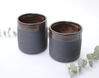 Nightfall Collection - Black Ceramic Stoneware Shino Cup