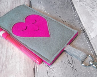Felt Phone Case - Heart Phone Case - Felt Organiser - Phone Organiser