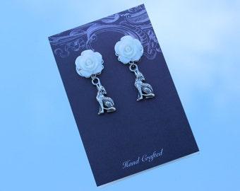 Wedding Earrings, Animal Earrings, Dog Earrings, Wolf Earrings, Woodland Wedding, Outdoor Wedding, Floral Wedding, Floral Jewellery, Cute