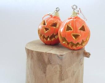 pumpkin earrings Halloween earrings carved pumpkin earrings Halloween jewelry Halloween Costume Halloween accessories polymer clay jewelry
