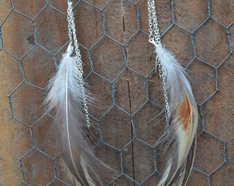 Silver Rooster Feather Dangle Earrings / 100% Cruely Free