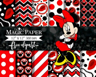 Minnie mouse Digital Papers, Paper, Clipart Scrapbook