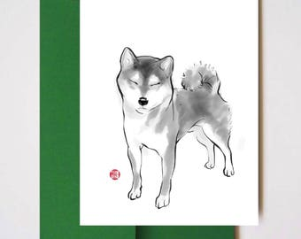 Shiba Inu in a Sunny day - Unique Sumi ink Painting Print Card Animal Brush illustration B&W Asian Zen theme Cute Dog lover Manga Wabi Sabi