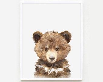 Bear Portrait Print, Woodland Nursery, Giclee, Baby Bear Print, Bear nursery art, Bearportrait,Bear Watercolor