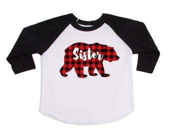 Sister Bear Shirt - Buffalo Plaid Bear Shirt - Lumberjack Shirt - Plaid Bear - Bear Shirt - Big Sister Shirts - Announcement Shirts
