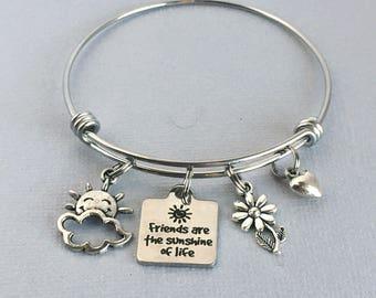 Friends are the Sunshine of Life Bracelet, Friend Charm Bangle, Gift for Friend, Friendship Bracelet, Friend Jewelry