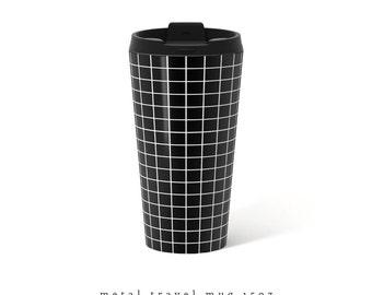Grid Travel Mug Black Metal travel mug coffee Travel Mug 15oz mug Stainless Steel Mug Gift for her present for her gift for him grid mug