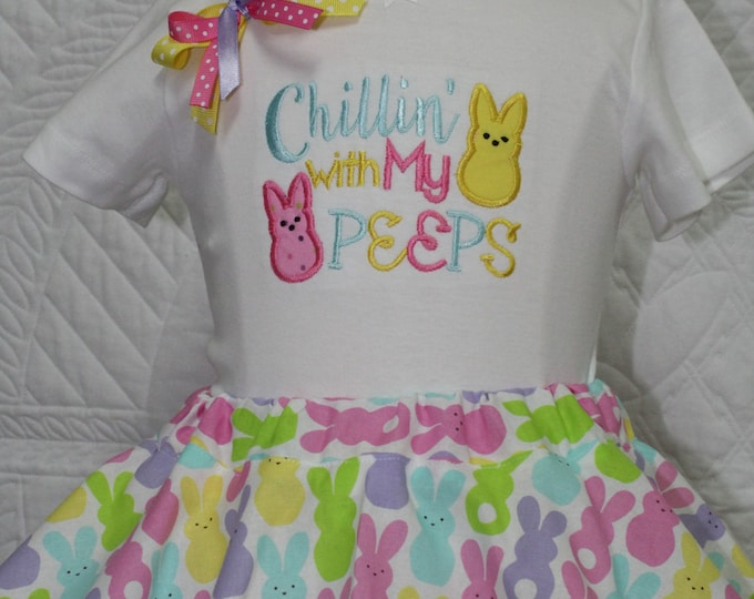 Chillin' with my peeps,Girls Easter shirt,Girl Easter outfit,Easter twirl skirt,Easter Peeps,Easter Bunny Headband,Baby girl Easter bodysuit