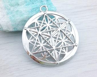 Flower of Life Pendant, Star of David, 1 or 2 pcs, Merkaba Pendant, Silver Tone, Seed of Life, Sacred Geometry Pendant, Meditation, CH102
