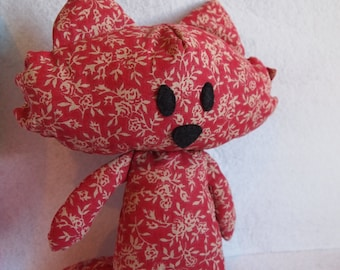 Plush Red Fox with flowers - Doudou Fox - Teddy bear fabrics