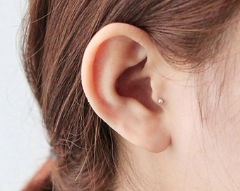 Tiny tragus earring, 2mm tragus piercing, cartilage earring, tragus stud, ball piercing, 3mm cartilage piercing, Conch, Helix, 2mm barbell