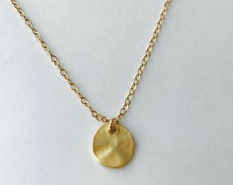 Coin Necklace Gold Disc Necklace Layering Necklace, Minimalist Necklace, Dainty Necklace, Gold Disk Necklace