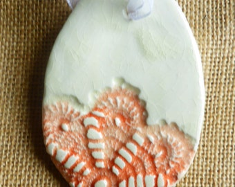 Poppy red crochet lace Ceramic egg tag.Handmade.Easter egg,Ceramic egg,only one availble