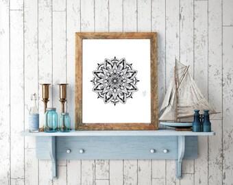 Mandala handmade Drawing, Digital Print, Decoration, Mandala Poster, Art Print, Made in pencil and ink, Mandala Art, Yoga