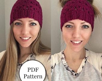 Pretty Petals Messy Bun Pattern, Lacey Messy Bun Beanie Pattern, Ponytail Hat Pattern, Crochet, Messy Bun Crochet, Crochet Mes
