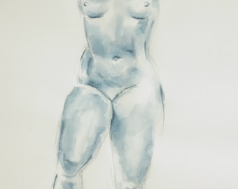 Original nude drawing signed after A. MAILLOL with ink and pencil on white paper A2, nude, body drawing slightly erotic, A2