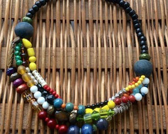 Colour Blocked multi-strand necklace