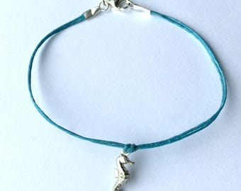 Seahorse Bracelet in Sterling Silver on Linen bridesmaid gift beach wedding graduation ready to ship