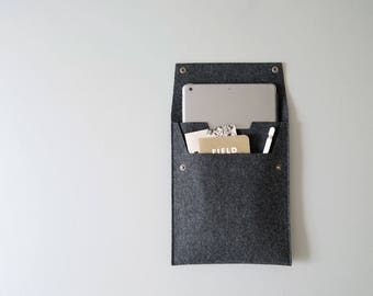 "Felt iPad Sleeve with Flap and Pocket - Charcoal Felt for 9.7"" iPad Pro/Air and 10.5"" iPad Pro - Made in the USA"