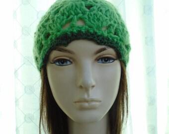 Green Elf cap beanie LARGE irish granny crochet soft green wool with silky trim