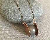 Copper and Agate Necklace - Etched Copper Necklace - Agate Bead Necklace - Modern Copper Necklace - Boho Necklace - Smoky - Smoke - OOAK
