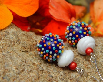 Sweet Sundae Earrings - Yummy Handmade Lampwork Glass Beads, Vintage German Glass & Miracle Beads w Artisan-Made Sterling Silver Ear Wires