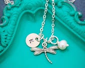 SALE • Jewelry Spring Gift Dragonfly Necklace • Personalized Gift for Her • Initial Charm • Dragonfly Jewelry Insect Winged • Dainty Charm