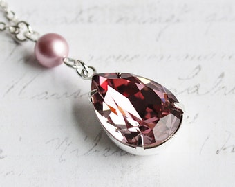 Antique Pink Crystal Rhinestone Drop Necklace on Silver Plated Chain (made with Swarovski Crystal Elements)