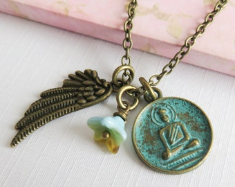 Buddha necklace, spiritual charm necklaces, zen jewelry, rustic jewelry, gift for her, blue necklaces